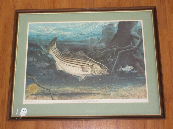 "Titled ""South Carolina Striped Bass"" Official State Edition Artist Signed R.J. McDonald"