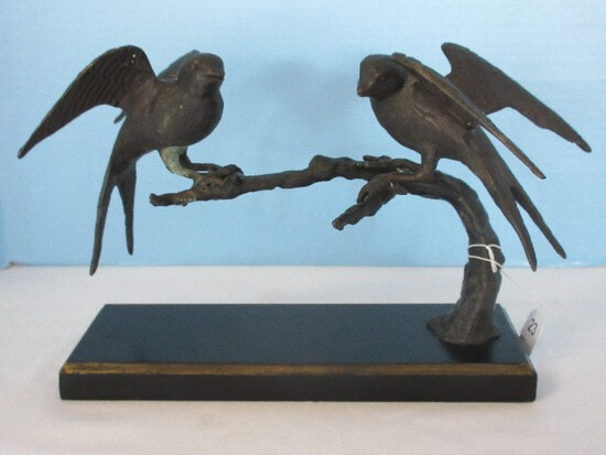 S.F. Bay Trading Co. Bronze Sculpture Pair Perched Sparrows Statuette on Lacquer Base