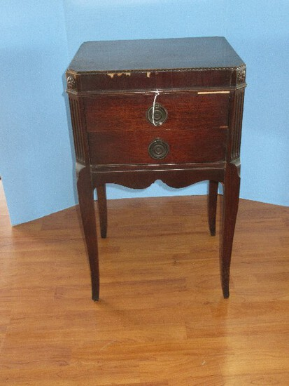 Depression Era Style Mahogany Dovetailed 2 Drawer Side Table on Cabriole Legs
