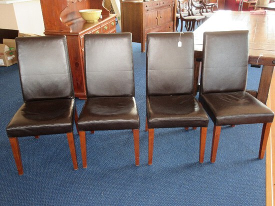 Set - 4 Pottery Barn Grayson Parson Style Chocolate Leather Side Chairs