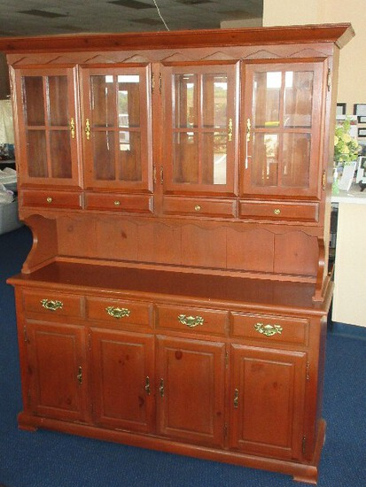 Knotty Pine Heirloom Style Stepback Hutch China Cabinet w/ Glass Pane Doors