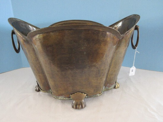 Decorative Large Planter Antiqued Brass Patina Hammered Finish w/ Hoop Handles
