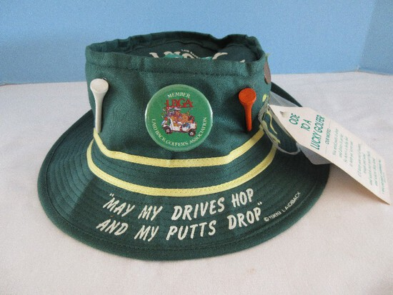 Novelty Ode To A Lucky Golfer Hat w/ Dice, Scoreboard, Putting Dust, Etc.