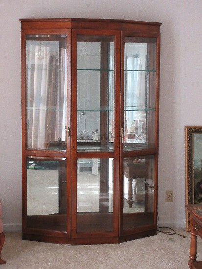 Stately Lighted Curio w/ Grooved Plate Glass Shelves, Mirrored Back, Beveled Glass