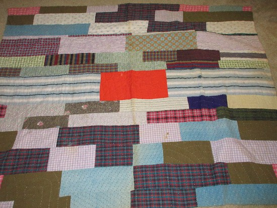 Early Hand Sewn Patchwork Quilt Reversible