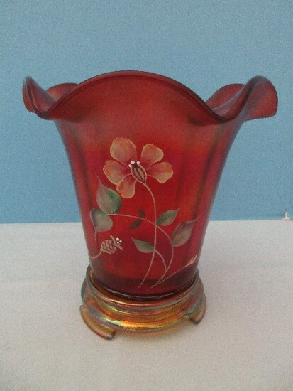 Scarce Fenton Art Glass 100th Anniversary Founders Ruby Stretch Glass Vase w/ Base