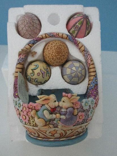 "Adorable Jim Shore ""Honey Bunny"" Set Easter Basket Bunny Kiss w/ 5 Egg Furnie"