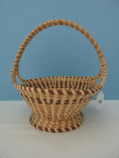Low Country Gullah Sweetgrass Footed Basket w/ Double Handle Timeless Traditional Design