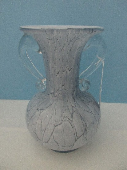 Elegant Hand Made Makora Glass Case Vase Mottled Blue w/ Applied Clear Scroll Handles