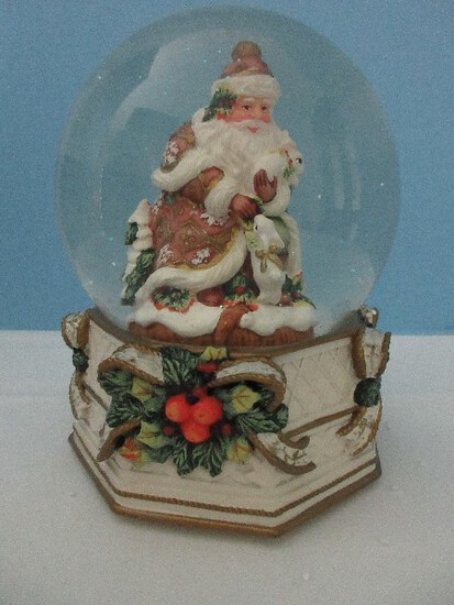 "Fitz & Floyd Snowy Woods Musical Water Globe Plays ""We Wish You A Merry Christmas"""