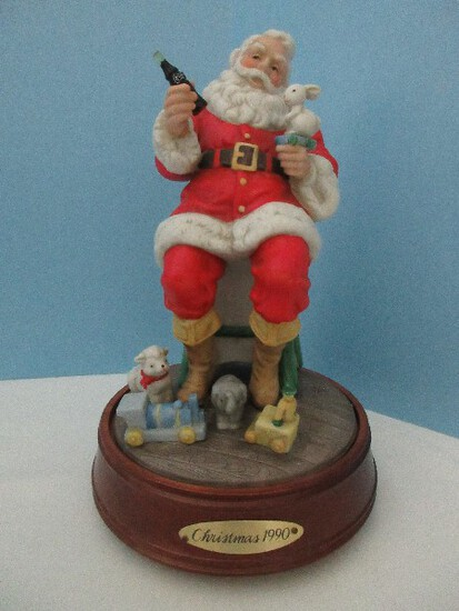 Coca-Cola Porcelain Musical Santa Claus Figurine Christmas 1990