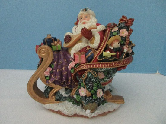 "Fitz & Floyd Holiday Musicals Collection Santa's Open Sleigh Resin Figurine Plays ""Jingle Bells"""