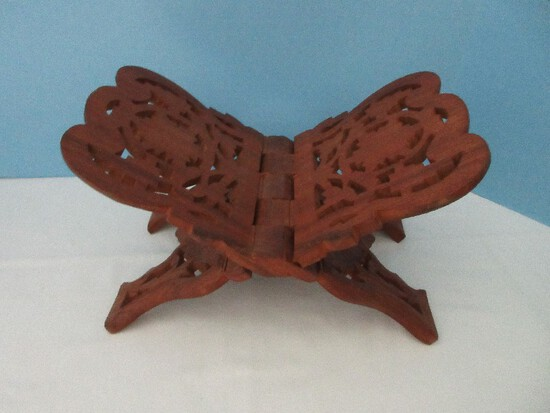 Carved Teak Wood Folding Book Stand Foliage & Medallion Design