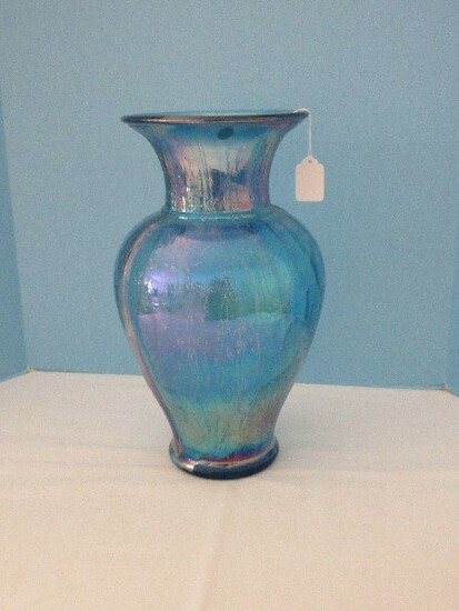 Stunning Fenton Art Glass Original Formula Blue Carnival Glass Collection Flared Rim Vase