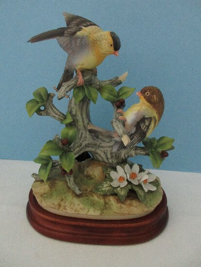 "Scarce Large Andrea Fine Porcelain Collectors Series ""Gold Finch Birds"" Statuette"