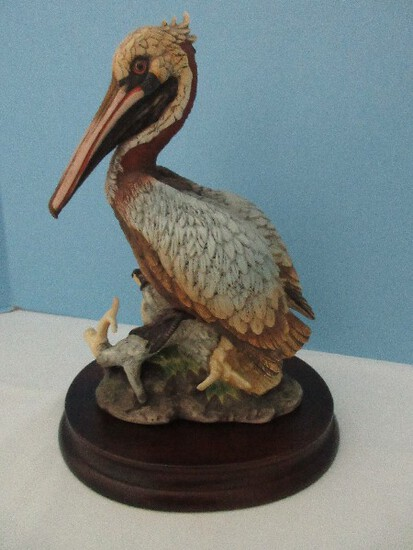 "Andrea Fine Porcelain Collectors Series ""Brown Pelican"" Statuette w/ Wood Display Base"