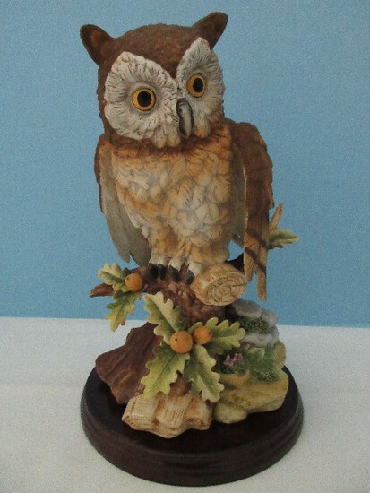 "Large Andrea Fine Porcelain Collectors Series ""Owl"" Statuette w/ Wood Display Base"