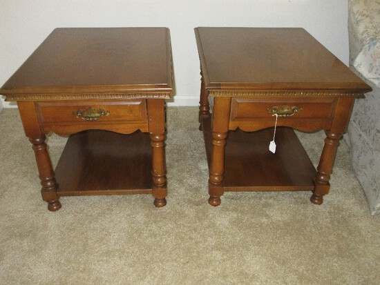 Pair - Maple Heirloom Colonial End Tables w/ Dovetailed Drawer & Base Shelf
