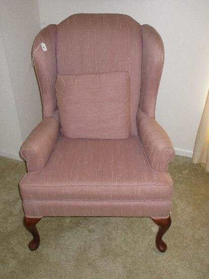 Broyhill Furniture Queen Anne Style Wing Back Chair Mauve Upholstery