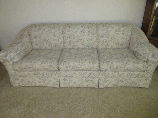 Formal Sofa w/ Curved Side & Pleated Skirt Floral Spray Upholstery
