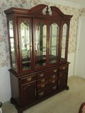 American Drew Furniture Cherry Traditional Lighted China Cabinet w/ 4 Beveled Glass Doors