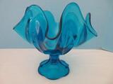 Viking Glass Mid-Century Bluenique Pedestal Compote
