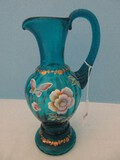 Scarce Fenton Glass Artistry Turquoise Hand Painted Ewer Pitcher w/ Applied Spiral Handle