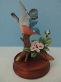Andrea Fine Porcelain Collectors Series Bluebird Spreading Wings Figurine w/ Wood Base