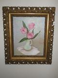 Still Life Tulips in Pitcher Original Artist Board Signed Mary W. Yancy 1990 Elaborate Pierced
