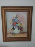 Still Life Panies in Vase Original Work on Artist Board Signed Mary W. Yancy 1990