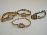 4 Ladies Wrist Watches Bulova 10k RGP Bezel L-8, Benrus 10k RGP Bezel