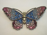 Kenneth Jay Lane Peacock Butterfly Brooch w/ CoA, Crystals Amethyst