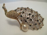 Gorgeous Peacock Brooch Pin by Norman Miller Glamour Collection