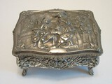 Silverplated Footed Jewelry Casket Relief Victorian Ladies Garden Scene Lined Interior