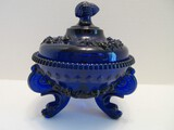 Scarce Westmoreland Glass Cobalt Argonaut Pattern Dolphin Footed Candy Dish