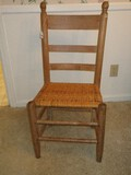Early Ladder Back Chair w/ Woven Split Reed Seat