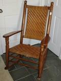 Early Rocking Chair w/ Woven Split Reed Herringbone Design Back/Seat
