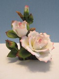 Andrea Fine Porcelain Floral Sculpture Collection Blush Pink/White Roses Hand Painted Flower