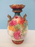 Exceptional Royal Bonn Germany Porcelain Chrysanthemum Bouquet Double Handled Vase
