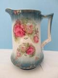 Vintage Porcelain Pitcher Rose Swag Pattern Gilt Trim