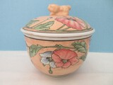 Chinese Semi-Porcelain Footed Rice Bowl w/ Lid Poppies Flower Design