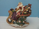 Fitz & Floyd Holiday Musicals Collection Santa's Open Sleigh Resin Figurine Plays