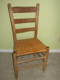 Early Ladder Back Chair w/ Split Reed Woven Seat
