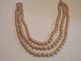 Kenneth Jay Lance Triple Strand Faux Pearl Necklace w/ Crystal Clasp