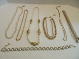 Lot - Faux Pearl Gold Tone Necklaces by Trifari, Monet & Other
