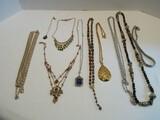 Lot - Fashion Glamour Design Jewelry Necklaces & Pendants by Trifari, Monet, Etc.