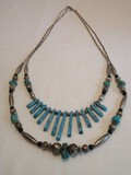Double Strand Southwestern Design Turquoise & Bead Necklace