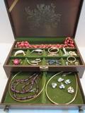 Lot - Simulated Wood Grain Jewelry Box w/ Costume Jewelry Choker, Brooches
