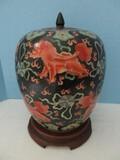 Large Semi-Porcelain Hand Painted Ginger Jar w/ Lid Temple Guardian Foo Dog