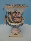 Rare R. Capodimonte Urn w/ Relief Cherubs & Foliate Design on Plinth base w/ Tag